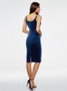 Платье бархатное на тонких бретелях oodji для женщины (синий), 14015007-9/46056/7503N