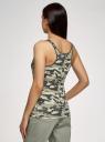 Майка-борцовка с люверсами на лямках oodji для женщины (зеленый), 24305006-2/46164/6025O