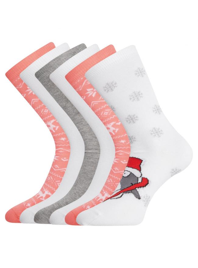 Комплект из шести пар хлопковых носков oodji #SECTION_NAME# (разноцветный), 57102902-4T6/10231/11