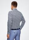 Рубашка льняная принтованная oodji #SECTION_NAME# (синий), 3L110323M/48268N/1079F - вид 3