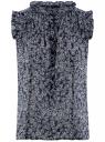 Топ принтованный из легкой ткани oodji #SECTION_NAME# (синий), 11411097/17358/7912F - вид 6