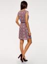 Платье принтованное из вискозы oodji #SECTION_NAME# (красный), 11910073-2/45470/4910F - вид 3