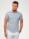 Рубашка принтованная с коротким рукавом oodji #SECTION_NAME# (синий), 3L410092M/19370N/7579F - вид 2