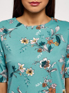 Платье прямого силуэта с коротким рукавом oodji #SECTION_NAME# (бирюзовый), 24001110-10B/48481/7319F - вид 4