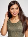 Футболка из ткани деворе oodji для женщины (зеленый), 24707002-1/45533/6800A