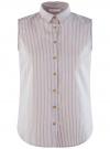 Рубашка прямая без рукавов oodji #SECTION_NAME# (бежевый), 14911017-1/49224/3530S