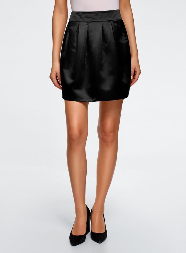 Юбка расклешенная из атласной ткани oodji для женщины (черный), 11600388-4/24393/2900N