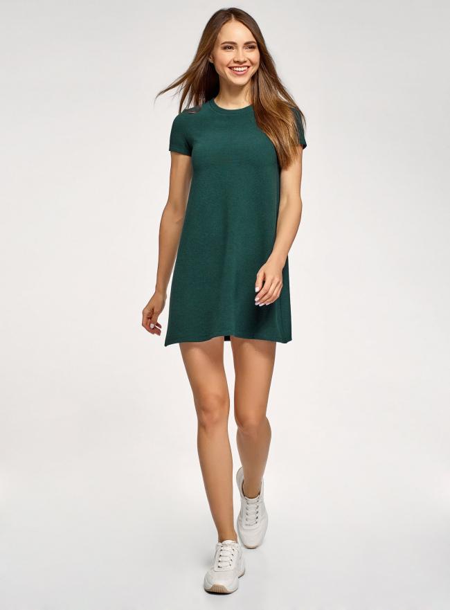 Платье А-образного силуэта в рубчик oodji #SECTION_NAME# (зеленый), 14000157/45997/6900N