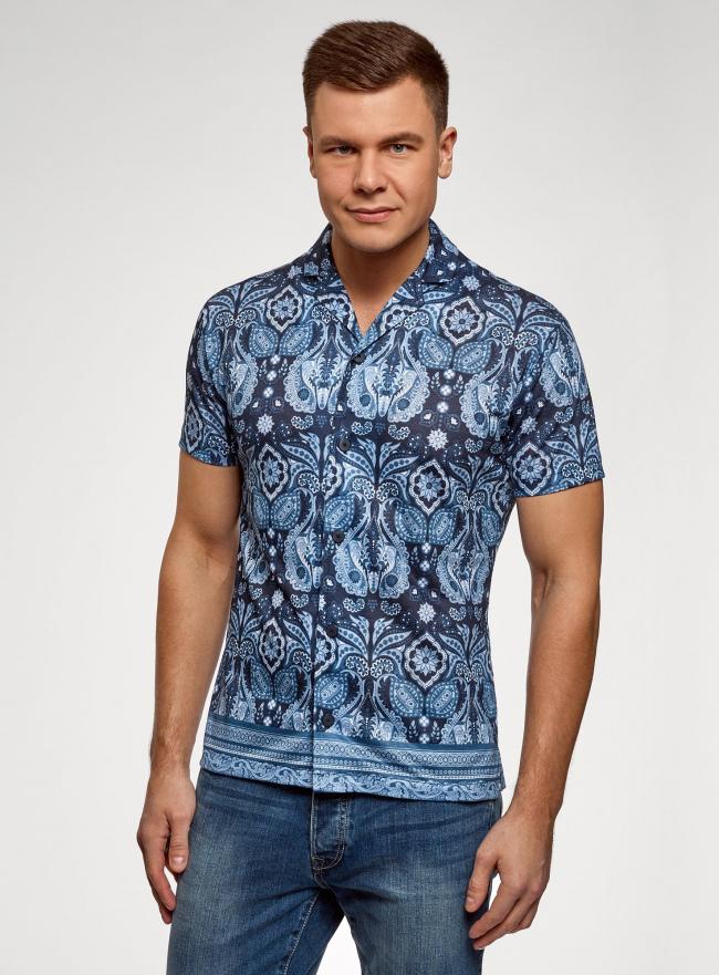 Рубашка принтованная с коротким рукавом oodji #SECTION_NAME# (синий), 5L300021M/49197N/7975E