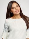 Блузка трикотажная с вышивкой на рукавах oodji #SECTION_NAME# (белый), 14207003/45201/1200N - вид 4