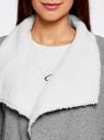 Кардиган на искусственном меху с запахом oodji для женщины (серый), 19207001/18586/2300M