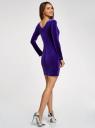 Платье бархатное с V-образным вырезом сзади oodji #SECTION_NAME# (фиолетовый), 14000165-4/48621/7800N - вид 3