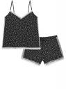 Пижама принтованная из вискозы oodji для женщины (черный), 56001093-2/24681/2910U