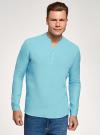 Рубашка льняная без воротника oodji #SECTION_NAME# (бирюзовый), 3B320002M/21155N/7300N - вид 2