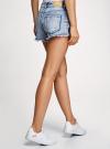 Шорты джинсовые с рисунком и потертостями oodji #SECTION_NAME# (синий), 12807072/45254/7519K - вид 3