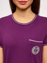 Футболка прямого силуэта с вышивкой oodji #SECTION_NAME# (фиолетовый), 14701090/46161/8300P - вид 4
