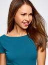 Платье трикотажное с вырезом-лодочкой oodji #SECTION_NAME# (бирюзовый), 14001117-2B/16564/6C00N - вид 4