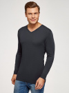 Пуловер удлиненный базовый oodji #SECTION_NAME# (синий), 4B212008M/49683N/7900N - вид 2