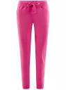 Брюки трикотажные спортивные с принтом oodji #SECTION_NAME# (розовый), 16700030-4/37204/4710P