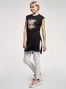 Платье трикотажное с принтом oodji для женщины (черный), 14008040-2/44135N/2941P