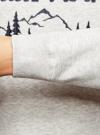 Свитшот прямого силуэта с рождественской вышивкой oodji #SECTION_NAME# (белый), 5L113107M-1/47639N/1279P - вид 5