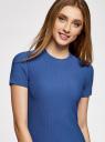 Платье трикотажное с коротким рукавом oodji #SECTION_NAME# (синий), 14011007/45262/7500N - вид 4