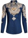 Блузка хлопковая с этническим принтом oodji #SECTION_NAME# (синий), 21402212-2/45966/7533E
