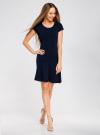 Платье трикотажное с воланами oodji #SECTION_NAME# (синий), 14011017/46384/7900N - вид 2
