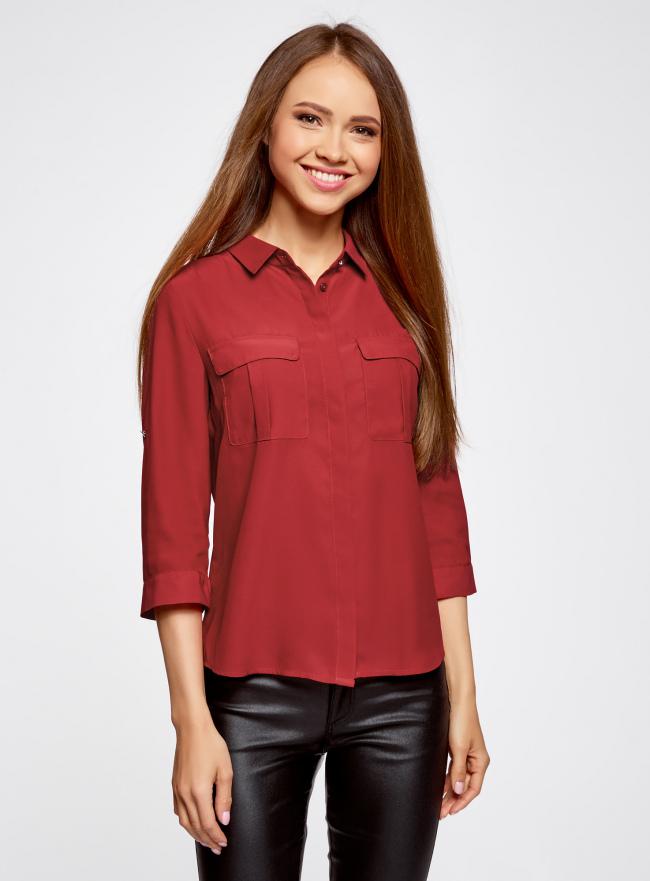 Блузка из струящейся ткани с регулировкой длины рукава oodji #SECTION_NAME# (красный), 11403225-1B/45227/4500N
