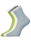 Комплект из трех пар хлопковых носков oodji для женщины (разноцветный), 57102806T3/48417/4 - вид 2