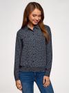 Блузка из струящейся ткани с нагрудными карманами oodji #SECTION_NAME# (синий), 11401278/36215/7930E - вид 2