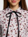 Блузка принтованная с контрастным бантом oodji #SECTION_NAME# (белый), 11411058/43277/1245F - вид 4