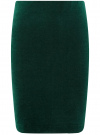 Юбка бархатная прямого силуэта oodji #SECTION_NAME# (зеленый), 14101102-1B/48470/6900N