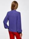 Блузка шифоновая с завязками oodji для женщины (синий), 21401256M/36215/7500N