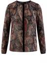Блузка из струящейся ткани с контрастной отделкой oodji #SECTION_NAME# (черный), 11411059-2/38375/2966E