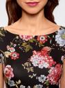Платье трикотажное приталенного силуэта oodji #SECTION_NAME# (черный), 14001117-14B/45344/294CF - вид 4