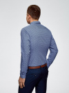 Рубашка принтованная из хлопка oodji для мужчины (синий), 3B110027M/19370N/7079G - вид 3