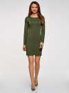 Платье базовое облегающего силуэта oodji #SECTION_NAME# (зеленый), 14011038B/38261/6800N - вид 2