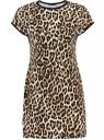 Платье трикотажное принтованное oodji для женщины (бежевый), 24008309-1/24568/3329A