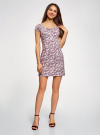 Платье хлопковое со сборками на груди oodji #SECTION_NAME# (розовый), 11902047-2B/14885/4049E - вид 2