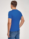 Футболка хлопковая с надписью oodji для мужчины (синий), 5L621002I-34/44135N/7519P