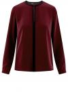 Блузка из струящейся ткани с контрастной отделкой oodji #SECTION_NAME# (красный), 11411059/43414/4900N