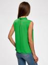 Блузка базовая без рукавов с воротником oodji #SECTION_NAME# (зеленый), 11411084B/43414/6A01N - вид 3
