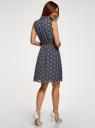 Платье из струящейся ткани с жабо oodji #SECTION_NAME# (синий), 21913018/36215/7912E - вид 3