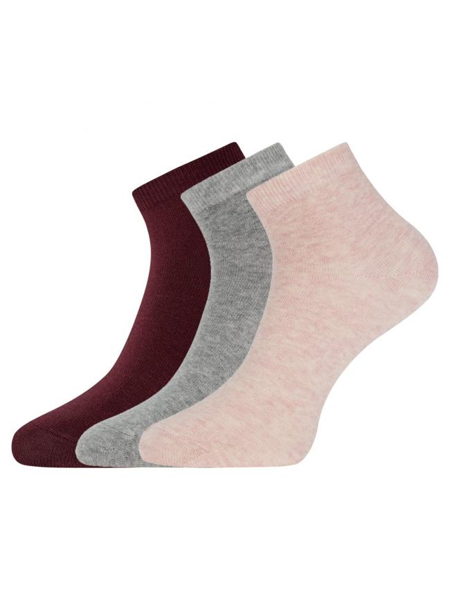 Комплект из трех пар укороченных носков oodji для женщины (разноцветный), 57102418T3/47469/19CYM