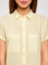 Блузка из вискозы с нагрудными карманами oodji #SECTION_NAME# (желтый), 11400391-4B/24681/5000N - вид 4