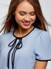 Блузка с коротким рукавом и контрастной отделкой oodji #SECTION_NAME# (синий), 11401254/42405/7029B - вид 4