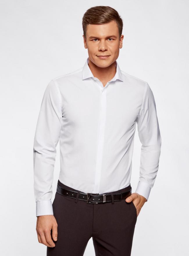 Рубашка базовая из фактурной ткани oodji #SECTION_NAME# (белый), 3B110017M/47184N/1000N