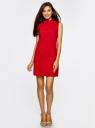 Платье без рукавов прямого кроя oodji для женщины (красный), 11900169/38269/4500N