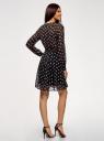 Платье принтованное из шифона oodji для женщины (черный), 21912001/38375/2910O